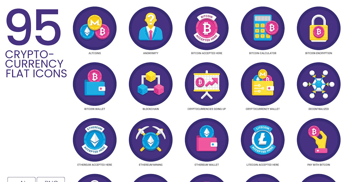 Download 95 Cryptocurrency Flat Icons by Krafted