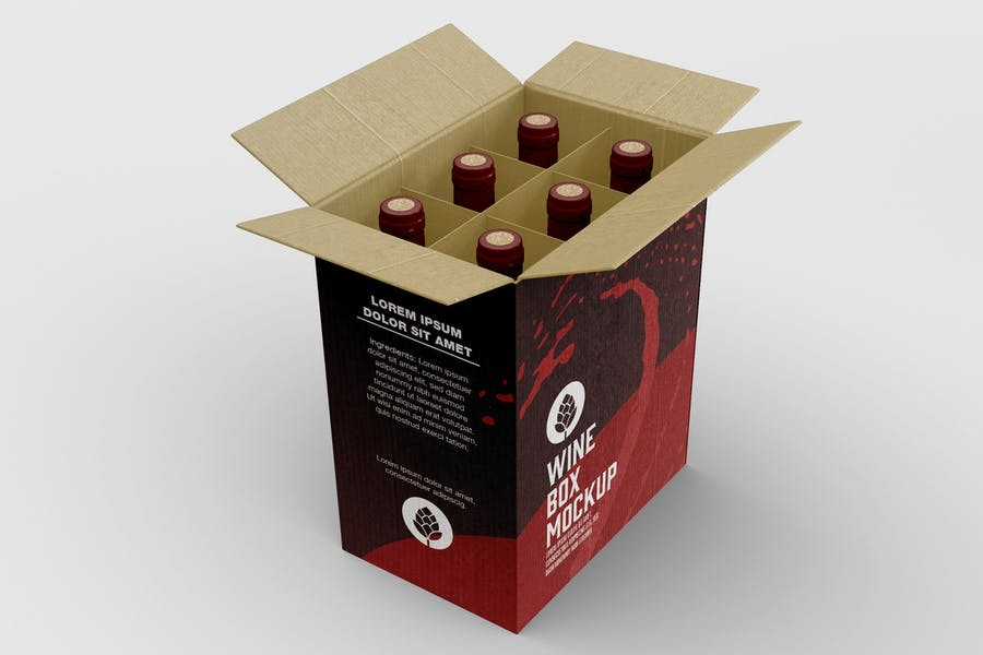 Box for Wine Bottles Mockup