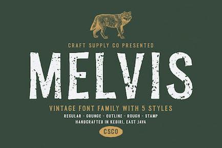 Melvis - Familia tipográfica vintage
