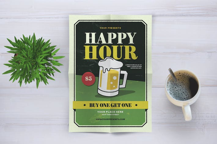 Thumbnail for Vintage Happy Hour Flyer