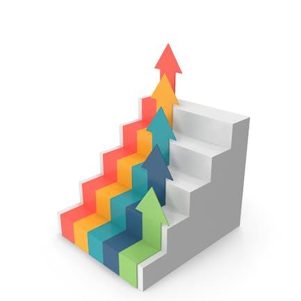 Gráfico con flechas de escaleras
