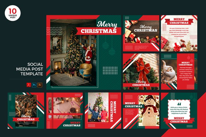Thumbnail for Merry Christmas Social Media Kit PSD & AI