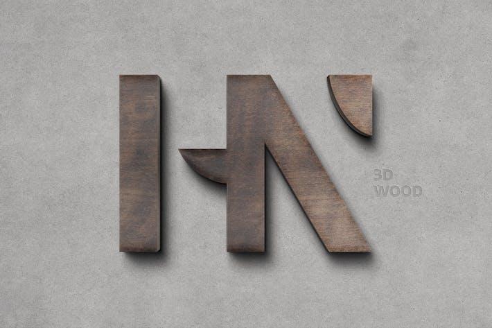 Thumbnail for Wooden 3D Logo Mockup