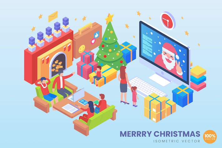 Cover Image For Isometric Merry Christmas Vector Concept