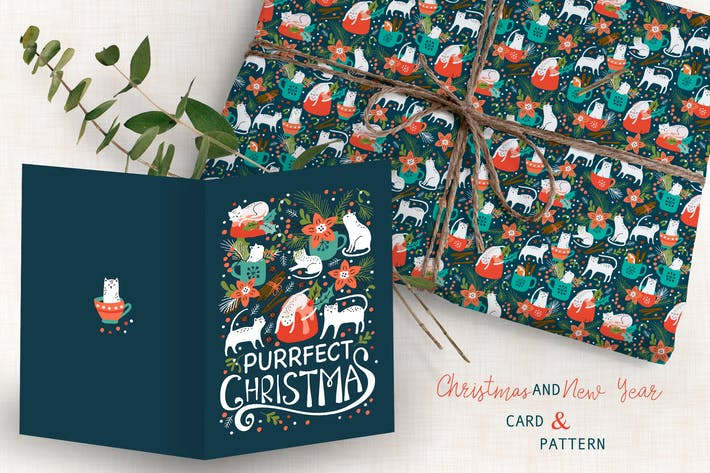 Thumbnail for Spicy Kittens Christmas Card and Pattern