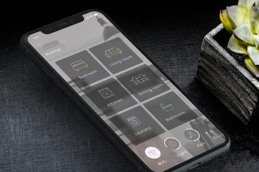 Smart Home Dashboard Dark Mobile Ui - B