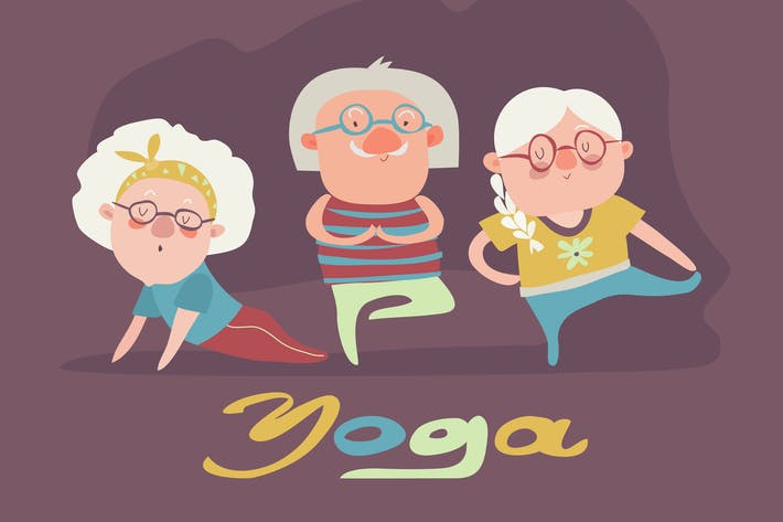 Thumbnail for A vector illustration of senior people doing yoga