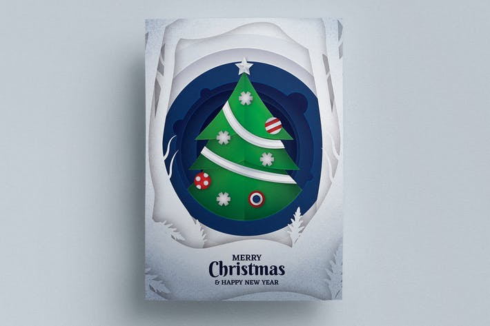 Thumbnail for Paper Art Christmas Flyer Template