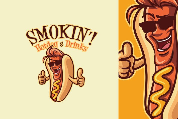 Thumbnail for Cartoon Hotdog - Hot Dog Mascot Logo