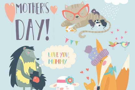 Vector set of cute animals with their cubs