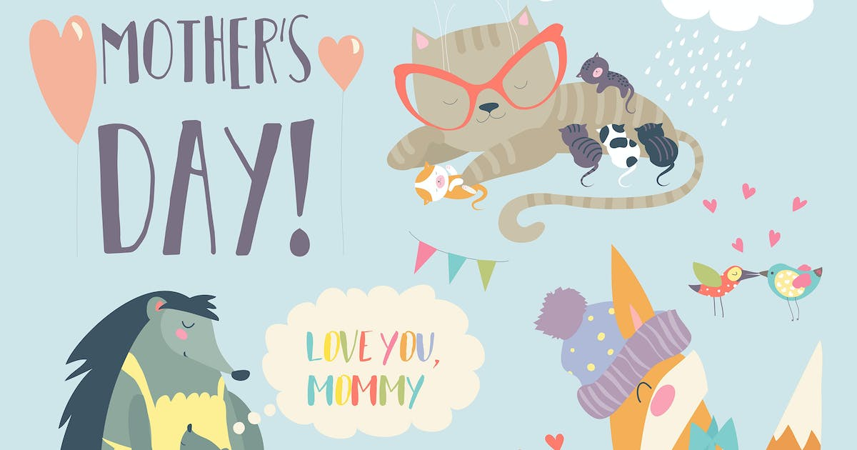Vector set of cute animals with their cubs by masastarus