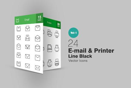 24 Íconos de línea de impresora y Correo electrónico
