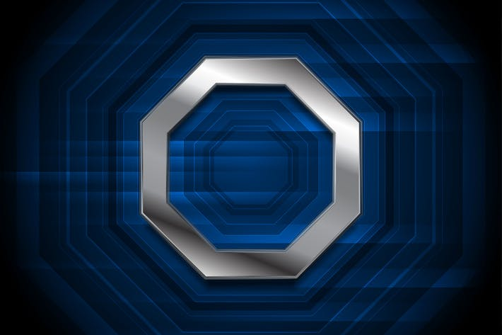 Thumbnail for Blue technology background with metallic octagon
