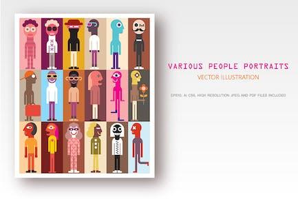 Различные люди портреты вектор искусства дизайн
