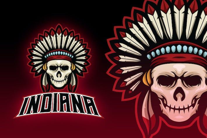 Thumbnail for Undead Indian Skull Esport Logo