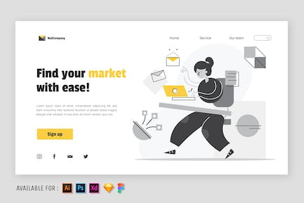 Woman Sending an email - Web Illustration