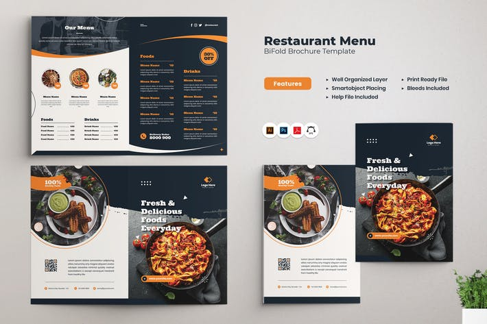 Restaurant Menu Bifold Brochure