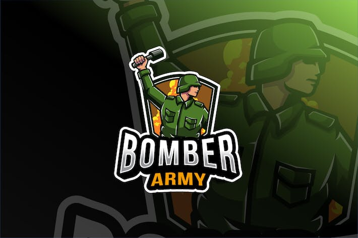 Thumbnail for Bomber Army Esport Logo Template