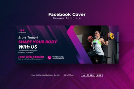 Facebook Cover Template for Gym fitness