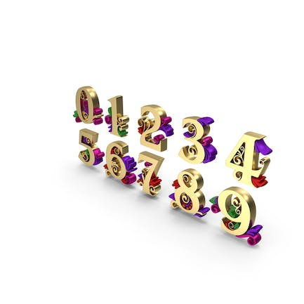 Multi Color Numbers Golden