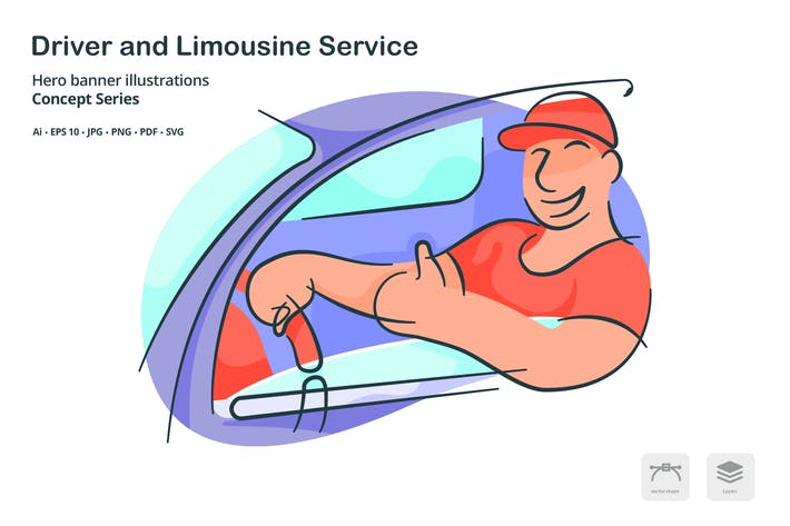 Thumbnail for Driver Limousine Service Vector Illustration