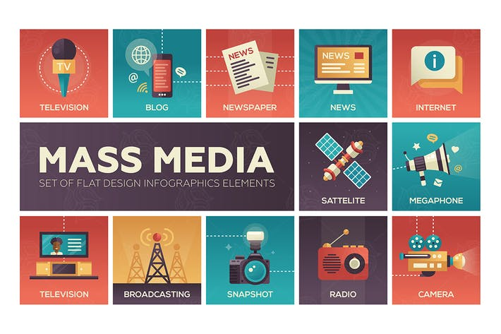 Thumbnail for Mass Media - flat design style icons set