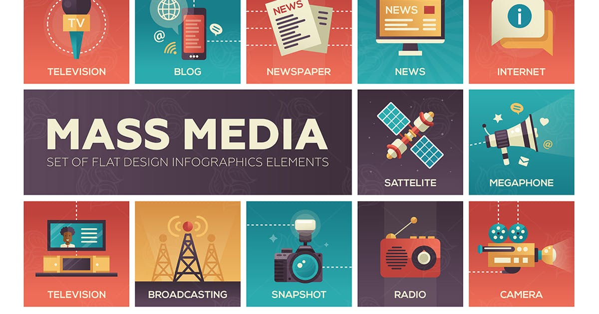 Download Mass Media - flat design style icons set by BoykoPictures
