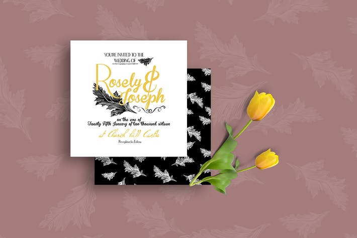 Thumbnail for DIY Black & Yellow Wedding Invitation PSD Template