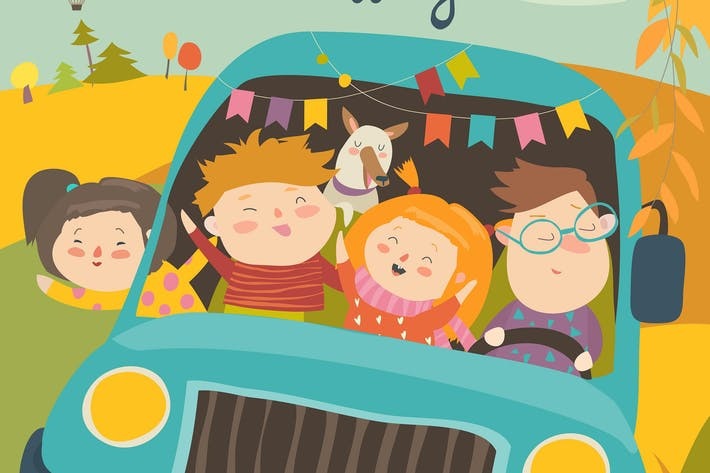 Thumbnail for Cute children traveling by bus. Vector