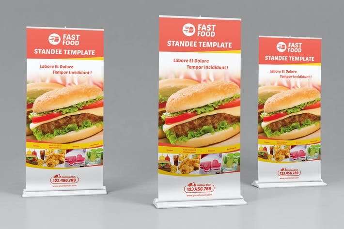 Cover Image For Restaurant/ Fast Food-Open Hours-Rollup Template