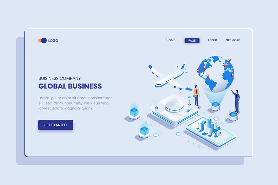 Global Business  Isometric Concept Langding Page