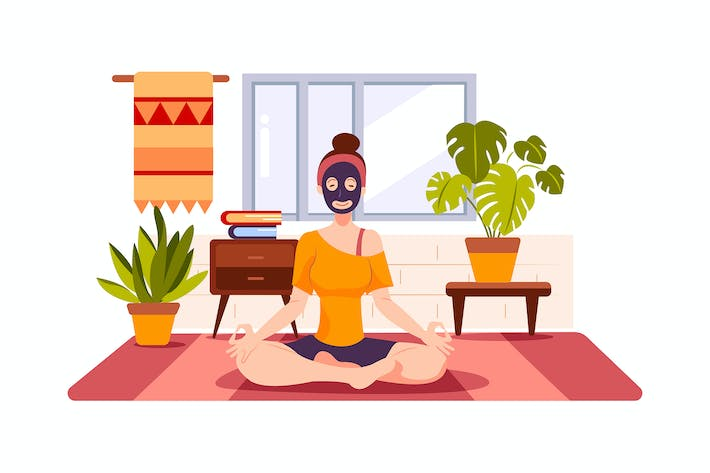 Thumbnail for The girl is wearing face mask and taking a yoga
