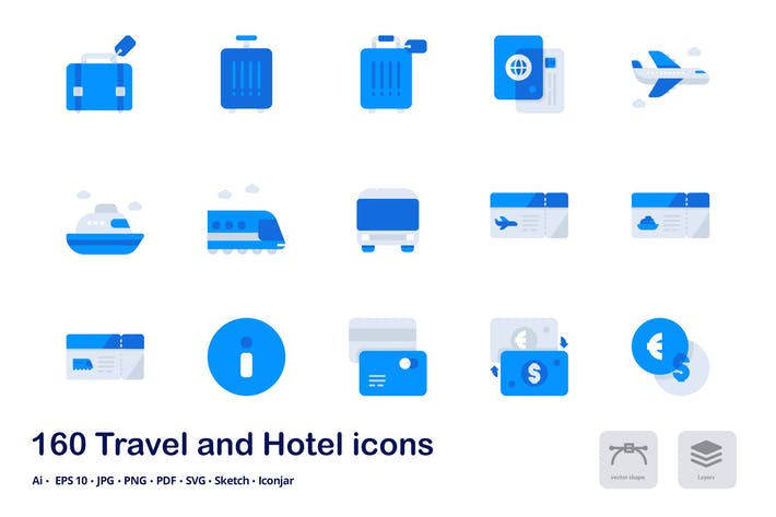Thumbnail for Travel and Hotel Accent Duo Tone Flat Icons
