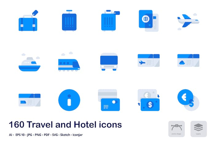 Cover Image For Travel and Hotel Accent Duo Tone Flat Icons