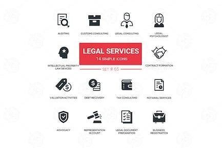 Servicios jurídicos - Kit de Íconos de silueta de Diseño de línea