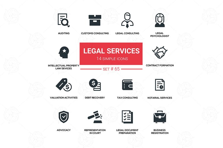 Thumbnail for Legal services - line design silhouette icons set