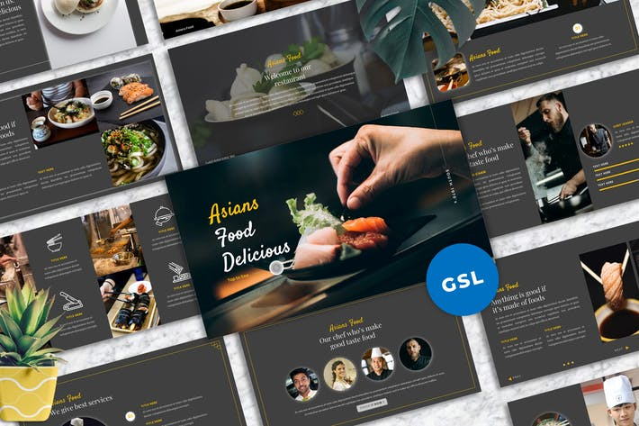 Thumbnail for Asians Food - Food & Beverage Googleslide Template