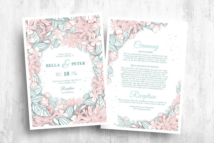 Floral Hochzeitseinladung & MenüVorlagen