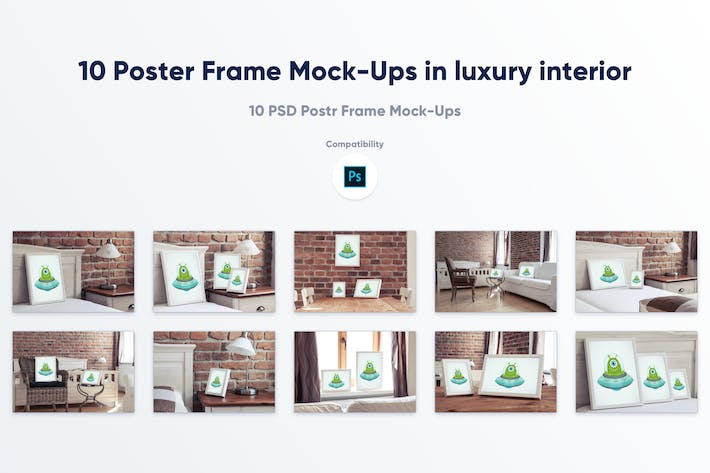 Thumbnail for 10 Poster Frame Mock-Ups in luxury interior
