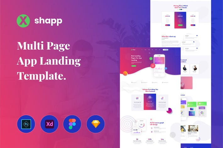 Thumbnail for Xshapp - Multipage App Landing Template