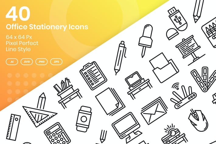 Thumbnail for 40 Office Stationery Icons Set - Line