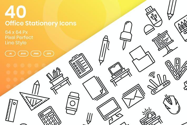 Thumbnail for Juego de 40 Íconos de papelería de oficina - Línea