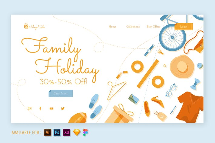 Thumbnail for Family Holiday Sale - Web Illustration