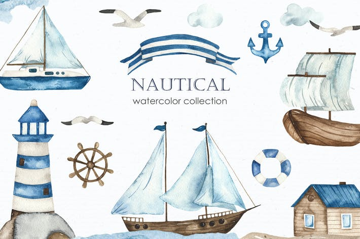 Nautical watercolor collection