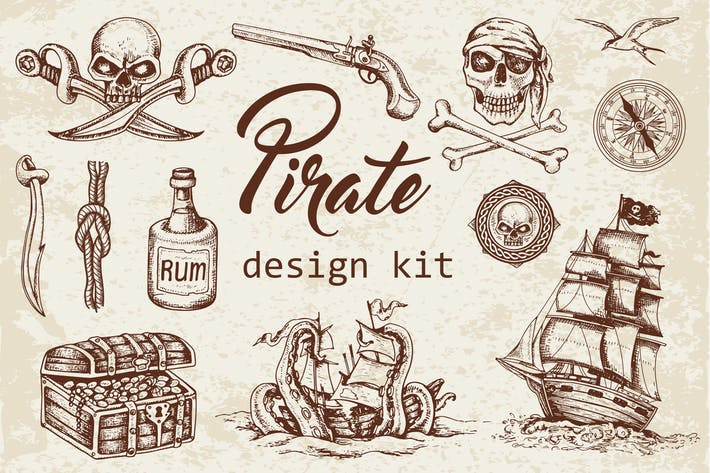 Thumbnail for Vintage Pirate Design Kit