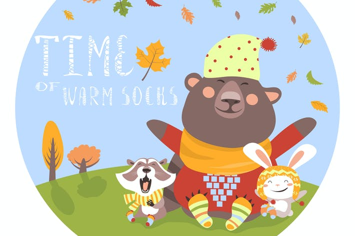 Thumbnail for Happy animals meeting autumn