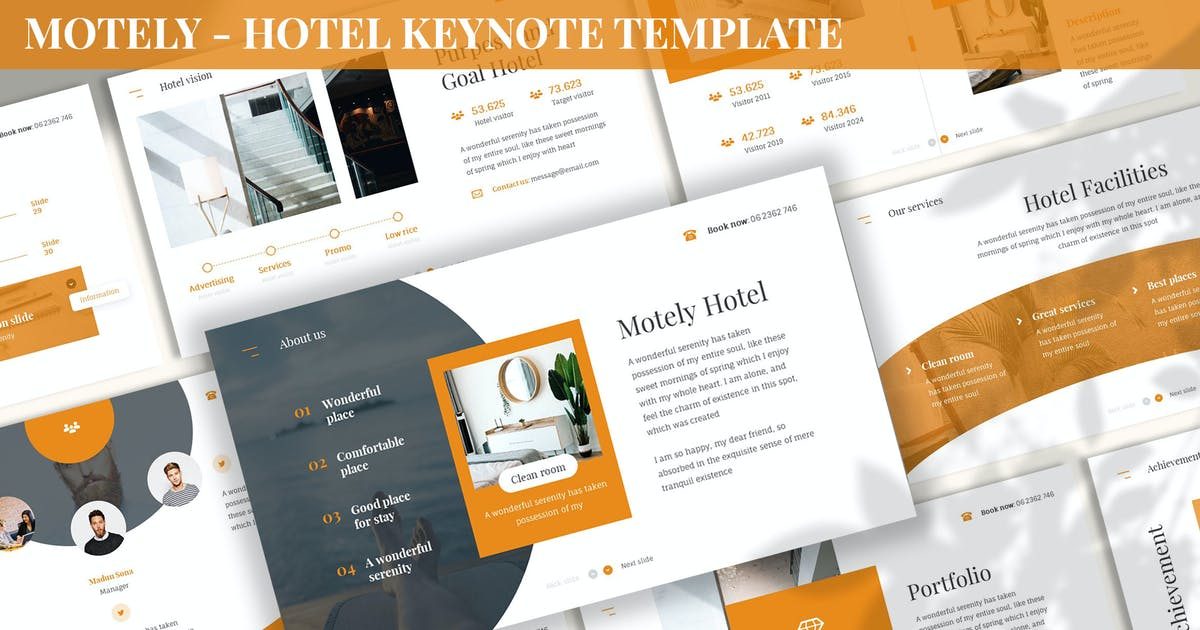 Download Motely - Hotel Keynote Template by SlideFactory