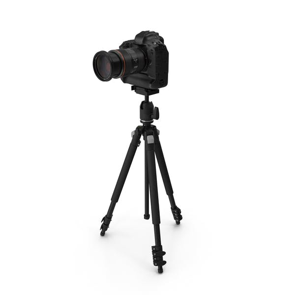 DSLR Camera with Zoom on Tripod