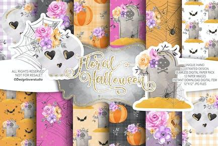 Floral Halloween digital paper pack