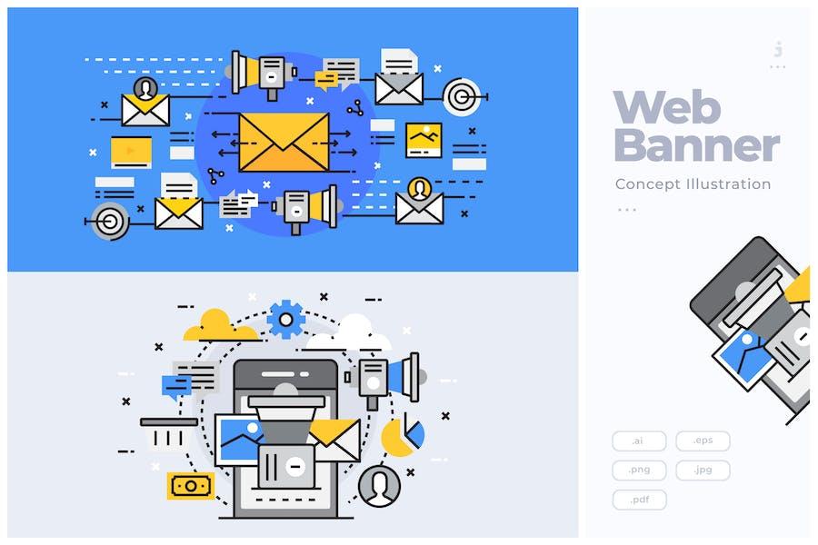 Flat Line Banner Concept of Online Marketing